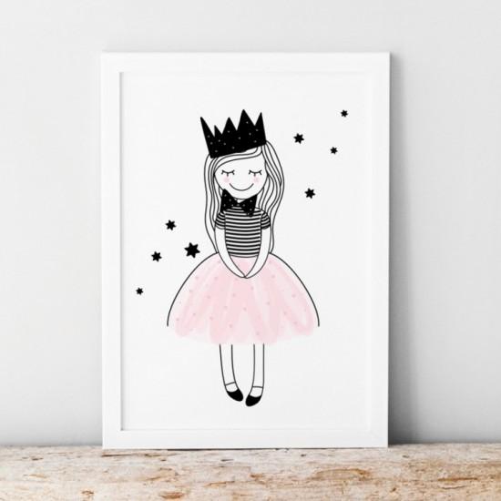 Bieločierny plagát pre deti s motívom princeznej