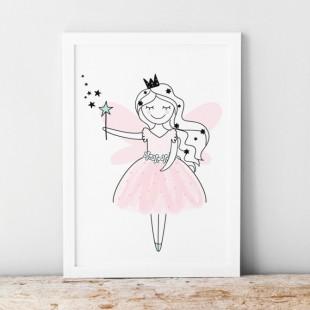 Bieločierny plagát pre deti s motívom malej princeznej