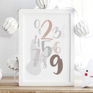 Biely plagát na stenu so svetlohnedými číslicami
