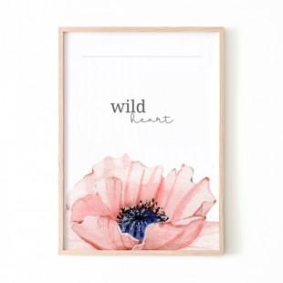 Biely plagát na stenu s kvetom WILD HEART