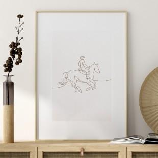 Plagát na stenu s jazdcom na koni