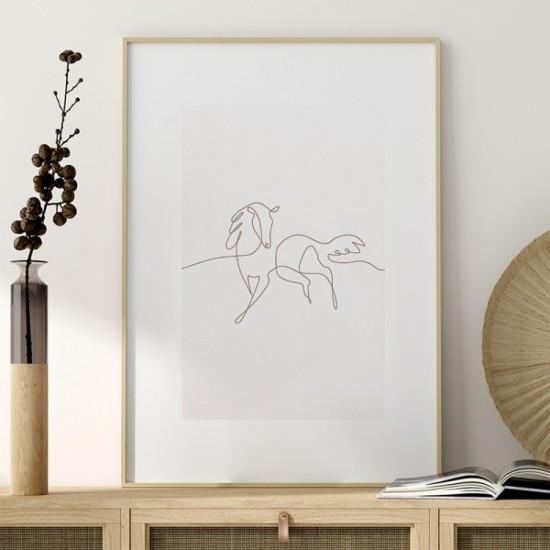 Plagát na stenu s minimalistickým koňom