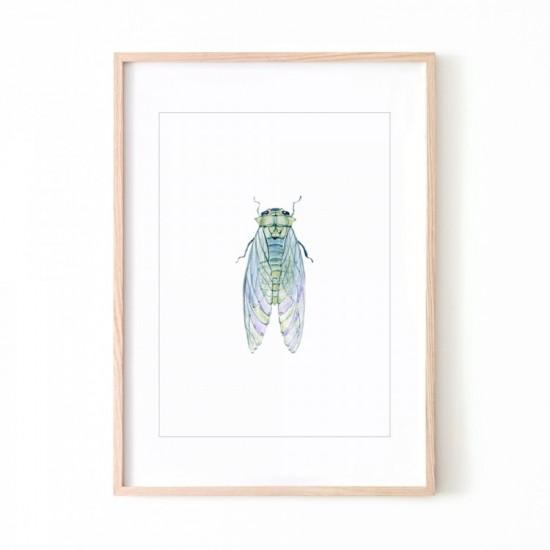Biely plagát na stenu s motívom muchy