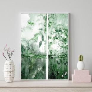 Zelený plagát na stenu s motívom vody a listov