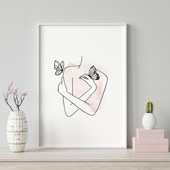 Biely plagát na stenu s náručím