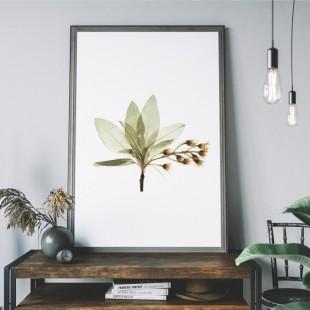 Plagát na stenu so zeleným kvetom