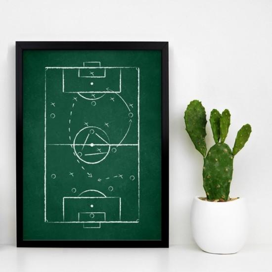 Zelený plagát na stenu s futbalovým ihriskom