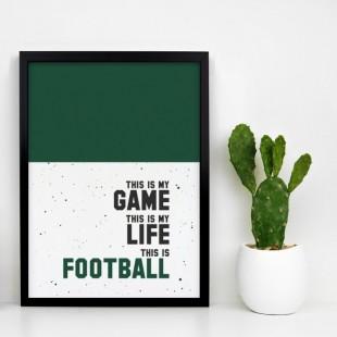 Zelený plagát na stenu s futbalovým motívom