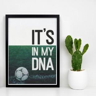 Zelený plagát na stenu s motívom futbalovej DNA