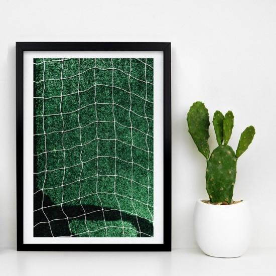 Zelený plagát na stenu s motívom futbalovej siete