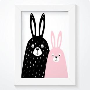 Plagát na stenu so zajačikami