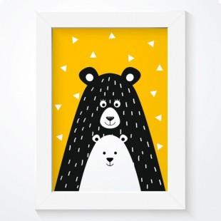 Žltý plagát na stenu s medvedíkmi