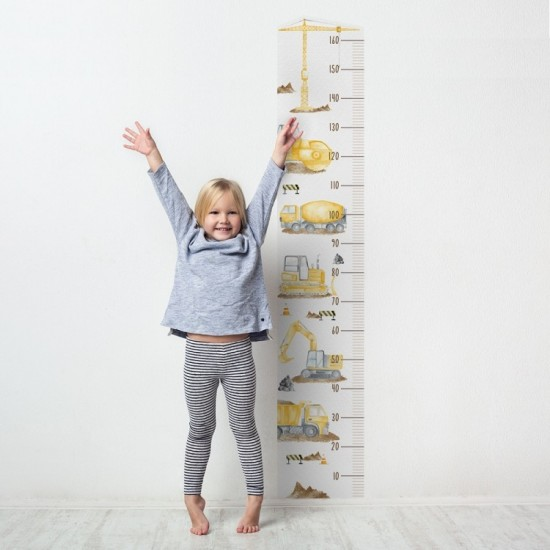 Detská nálepka na meranie výšky - vzor stavebné vozidlá
