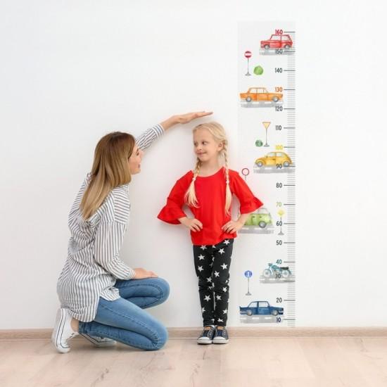 Detská nálepka na meranie výšky - vzor autá