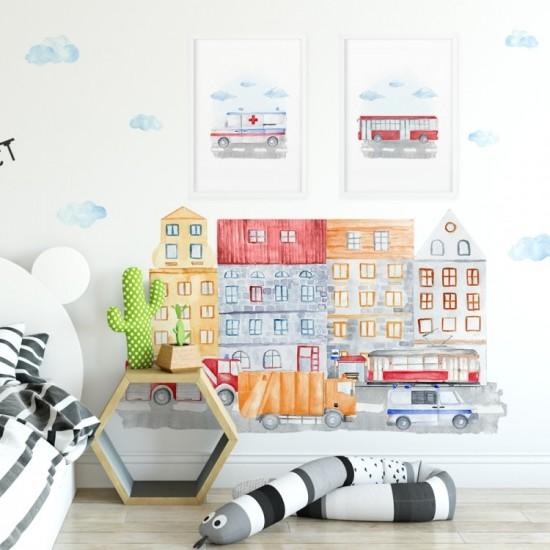 Detská nálepka s motívom ulice mesta