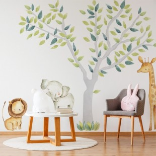 Sada nálepiek na stenu do detskej izby so zvieratkami zo safari