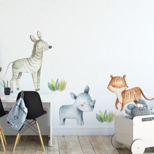 Sada nálepiek na stenu do detskej izby s motívom zvieratiek zo safari