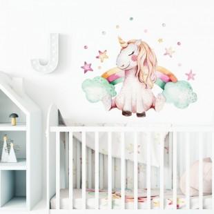 Detská nálepka na stenu s motívom jednorožca a dúhy