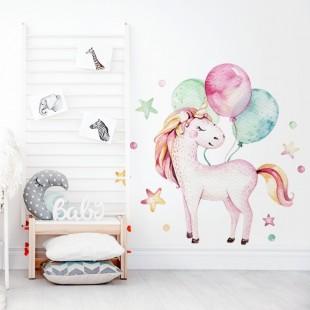 Detská nálepka na stenu s motívom jednorožca a balónikov