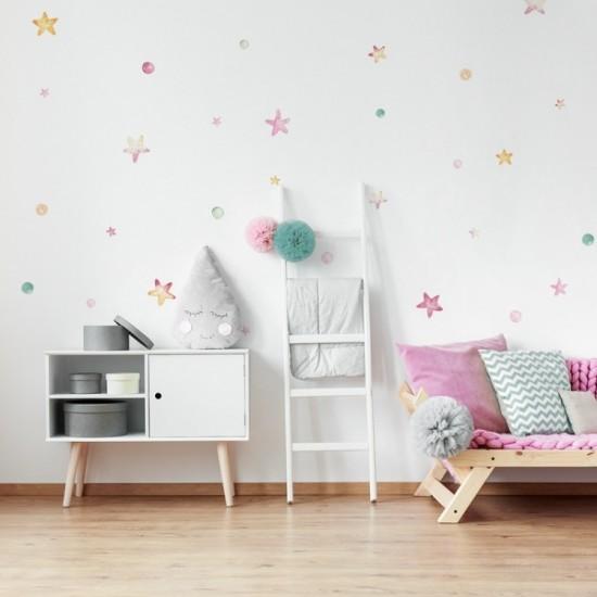 Sada detských nálepiek na stenu s hviezdičkami a guličkami