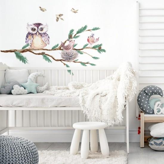 Nálepka na stenu do detskej izby s motívom sovičky a vtáčikov
