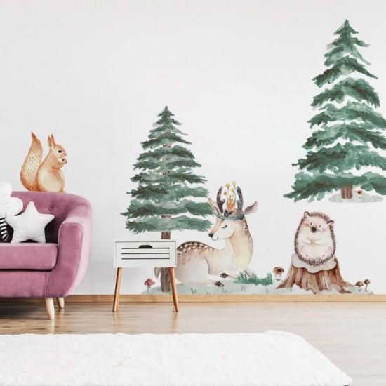 Sada detských nálepiek s motívom lesných zvieratiek