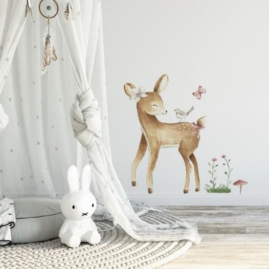 Detská nálepka jelenčeka na stenu s modrými kvietočkami