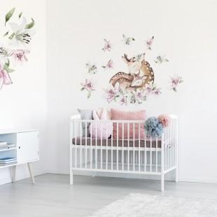 Nálepka na stenu do detskej izbičky s ľaliami a jelenicou s jelenčekom