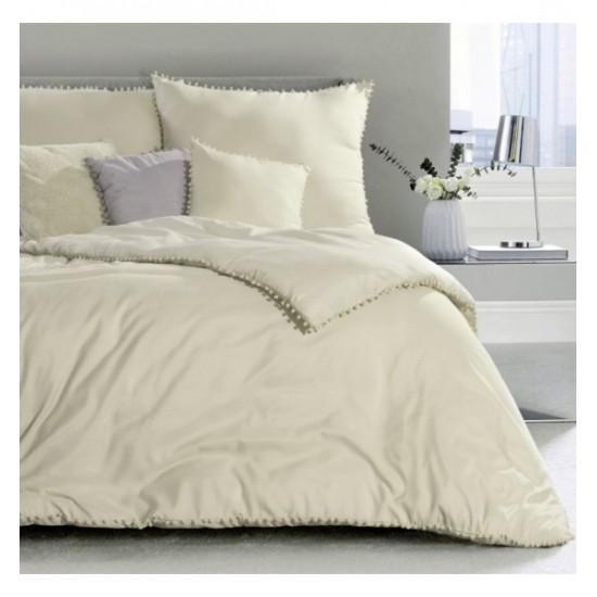 Krémové jednofarebné posteľné obliečky zo syntetického saténu