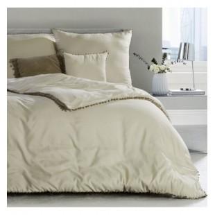 Béžové jednofarebné posteľné obliečky zo syntetického saténu
