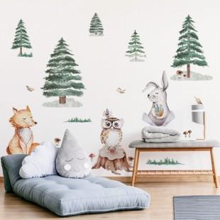 Nálepky na stenu do detskej izby s motívom líšky, zajaca a sovy