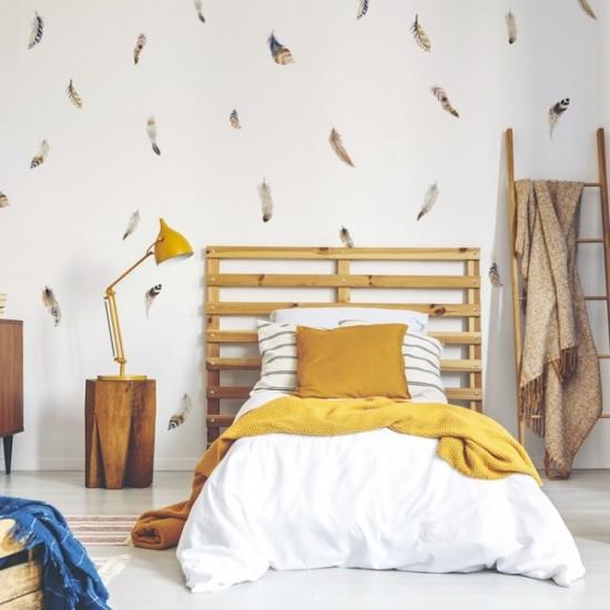 Sada nálepiek na stenu - vzor lietajúce pierka