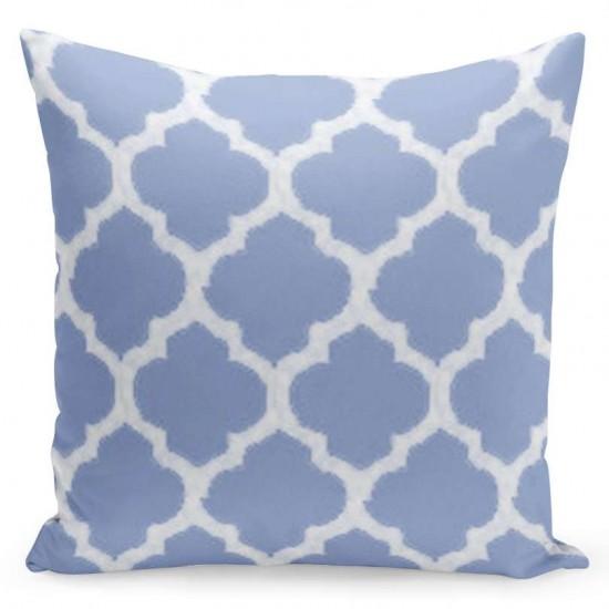 Bielo modrá obliečka na vankúš s marockým vzorom