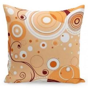 Oranžovo hnedá obliečka na vankúš s motívom kruhov