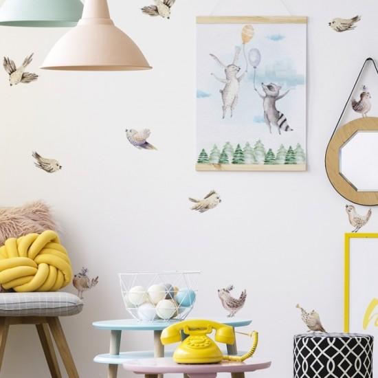 Sada detských nálepiek s motívom vtáčikov
