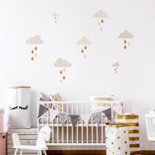Sada detských nálepiek na stenu s motívom mráčikov a dažďa