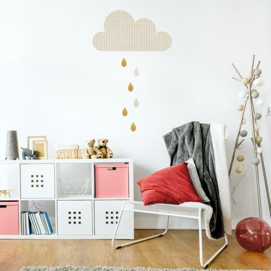 Nálepka na stenu s motívom dažďového mráčika s kvapkami