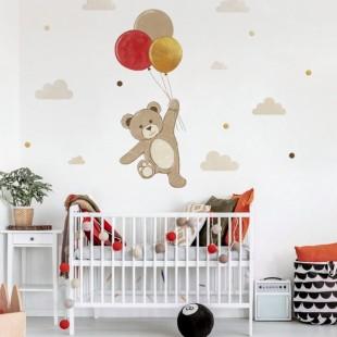 Detská nálepka medvedíka s balónami
