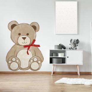 Detská nálepka medvedíka s červenou mašľou