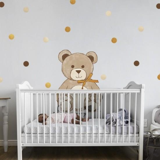 Detská nálepka medvedíka so zlatou mašľou