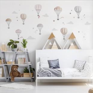 Sada nálepiek do detskej izby s motívom balónov a hviezdičiek