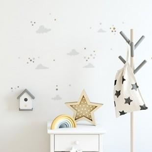 Sada pastelových nálepiek na stenu s motívom obláčikov a hviezdičiek