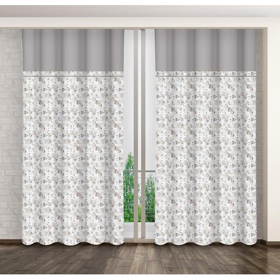 Béžovo sivý elegantný záves na háčiky so vzorom srdiečok a ružičiek