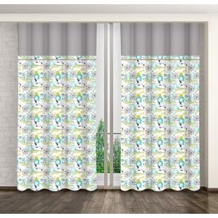 Sivo biely záves na háčiky s modro zelenými vzormi rastlín