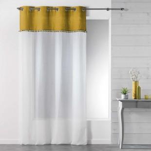 Biela záclona s kovovými kruhmi a medovým pásom