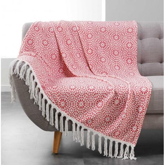 Korálová deka so strapcovým lemom a španielskym vzorom