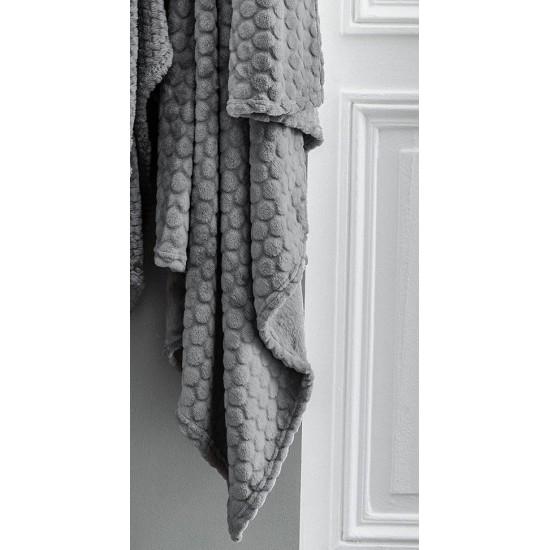 Moderná tmavosivá mäkká deka s kruhovým vzorom