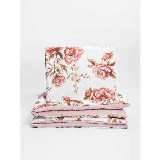 Zamatovo bavlnená detská posteľná bielizeň s motívom vintage pivóniek