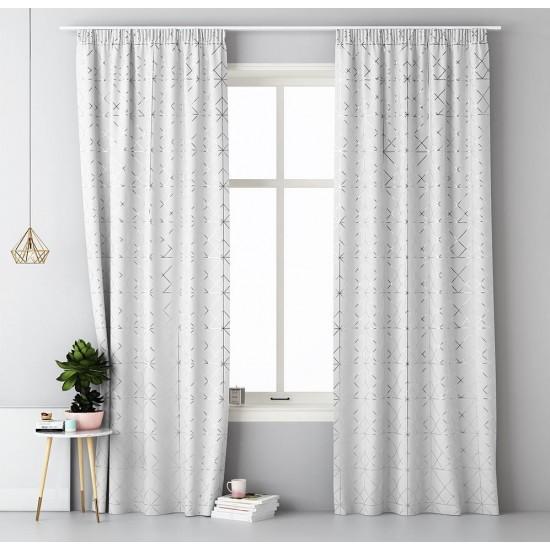 Biely elegantný záves na okno so strieborným vzorom