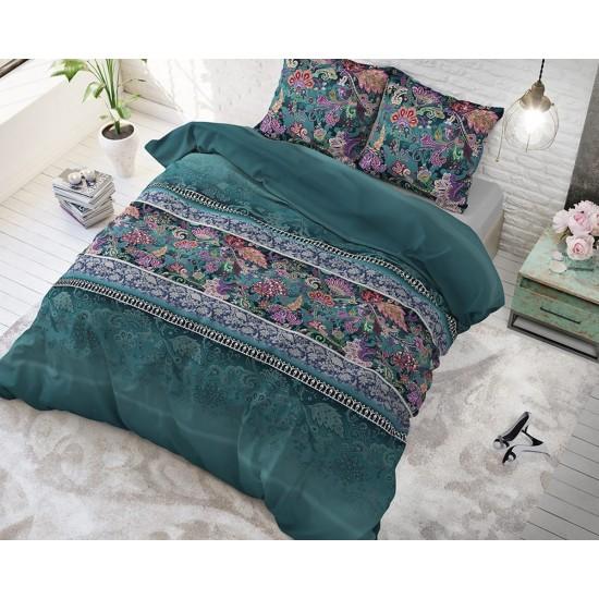 Vzorované zelené posteľné obliečky s kvetmi